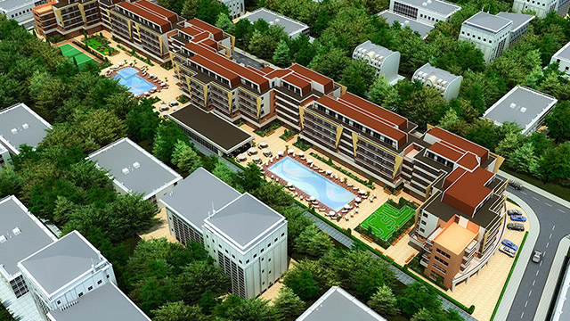 "Architectural project of a holiday complex ""Grand Kamelia""; Sunny Beach - Проектирано от VERTIKALI - Architectural and interior design"