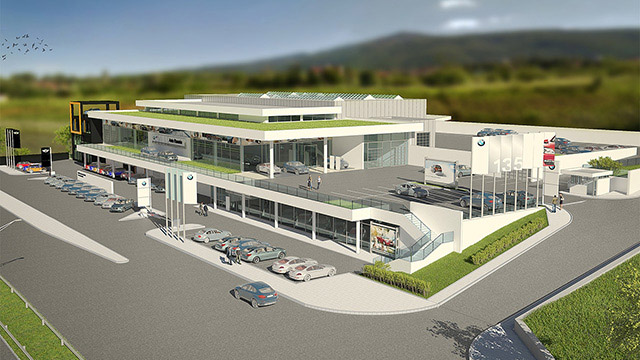 "Architectural project of a auto service and showroom for ""BMW""; Sofia - Проектирано от VERTIKALI - Architectural and interior design"