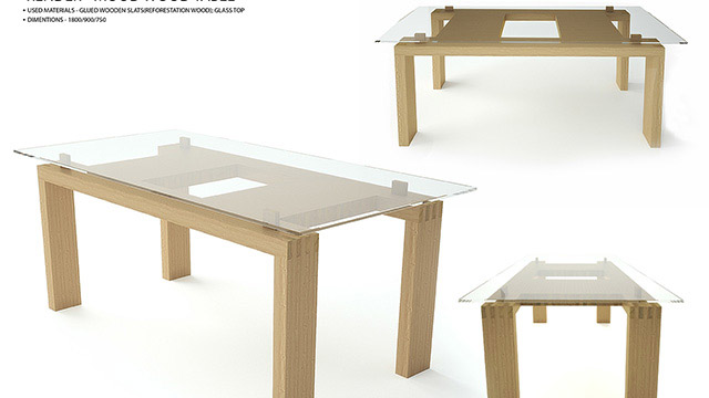 "Dining table of solid wood - ""MOOD-WOOD"""