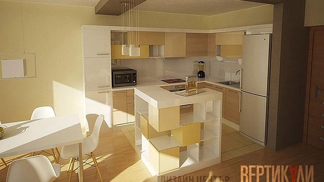 Интериорен проект на кухня, дневна и трапезария / гр.Бургас,Лазур