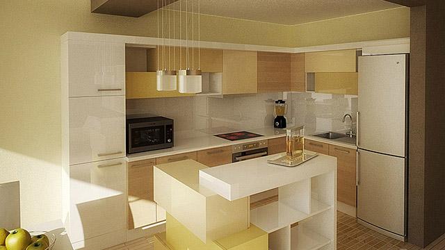 Интериорен проект на кухня, дневна и трапезария / гр.Бургас,Лазур - Проектирано от ВЕРТИКАЛИ - Архитектурно и интериорно проектиране