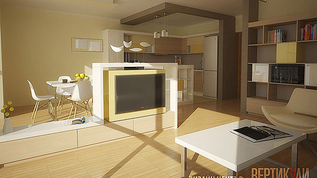 Interior project of kitchen, living room and dining room; Burgas