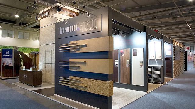 Дизайн на изложбен павилион - Kronospan (Техномебел 2006) - Проектирано от ВЕРТИКАЛИ - Архитектурно и интериорно проектиране