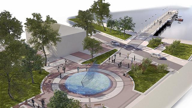 Благоустрояване на пространството между мостика, градската галерията и пешеходната улица, гр.Поморие - Проектирано от ВЕРТИКАЛИ - Архитектурно и интериорно проектиране