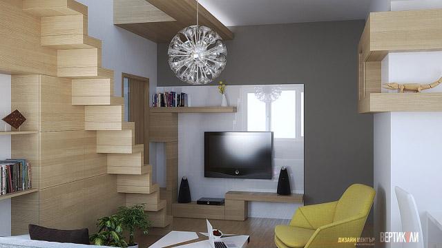 Интериорен дизайн на кухня, дневна и трапезария в гр. Бургас, център - Проектирано от ВЕРТИКАЛИ - Архитектурно и интериорно проектиране
