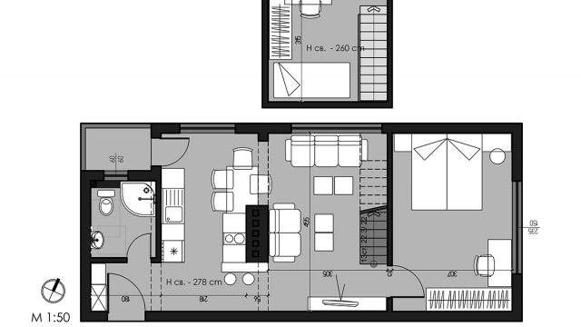 Интериорен дизайн на кухня, дневна и трапезария в гр. Бургас, център