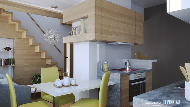 Interior design for kitchen, dining and living room in Burgas