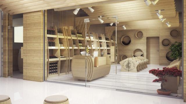 "Интериорен и екстериорен проект за фирмен магазин на завод за вино и алкохол ""Черноморско Злато"", Поморие"