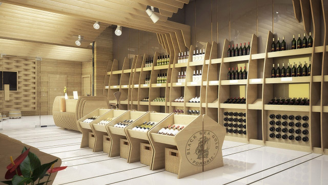 "Interior and exterior design company shop with tasting room of  ""Vinprom Black Sea gold"""