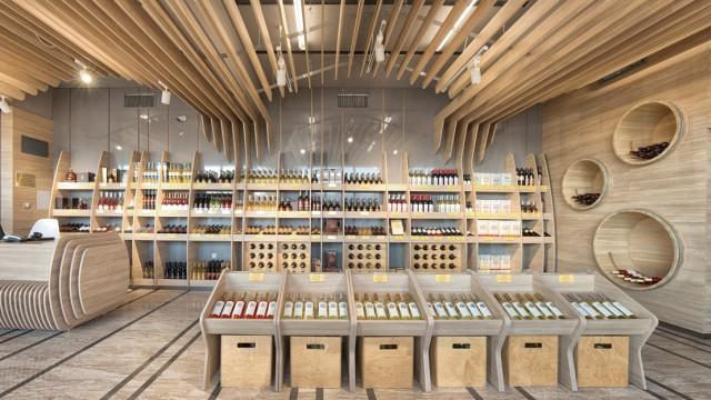 """Интериорен и екстериорен проект за фирмен магазин на завод за вино и алкохол """"Черноморско Злато"""", Поморие - Проектирано от ВЕРТИКАЛИ - Архитектурно и интериорно проектиране"""