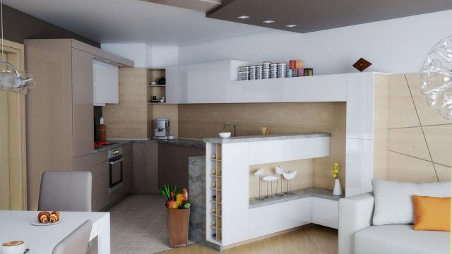Интериорен дизайн на кухня дневна и трапезария, гр. Бургас - Проектирано от ВЕРТИКАЛИ - Архитектурно и интериорно проектиране