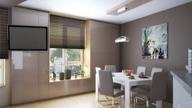 Интериорен дизайн на кухня дневна и трапезария, гр. Бургас