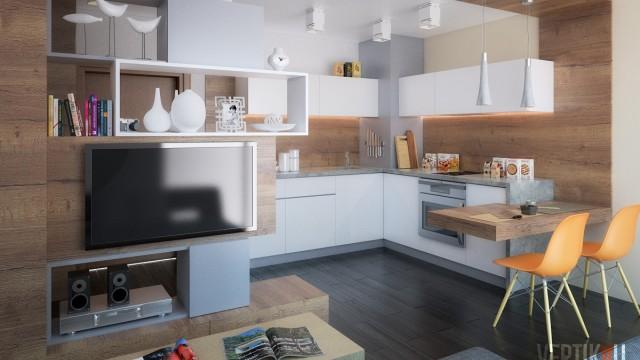 Интериорен проект на маломерен апартамент - Проектирано от ВЕРТИКАЛИ - Архитектурно и интериорно проектиране