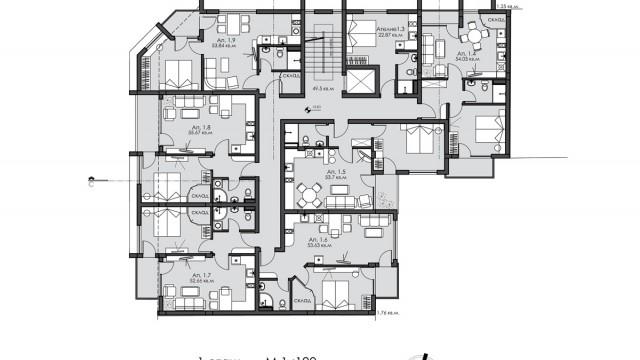 """Идеен архитектурен проект на жилищна сграда в к-с """"Възраждане"""", гр. Бургас"""