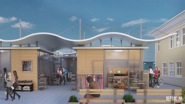 Архитектурен проект - търговски павилиони за сувенири, гр. Поморие - Проектирано от ВЕРТИКАЛИ - Архитектурно и интериорно проектиране