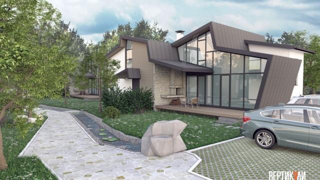 Архитектурен проект на ваканционен комплекс – хижа (реконструкция) и новопроектирани къщи за гости - Проектирано от ВЕРТИКАЛИ - Архитектурно и интериорно проектиране