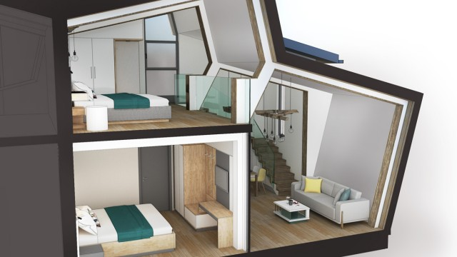 Architectural project of a holiday complex - hut (reconstruction) and newly designed guest houses