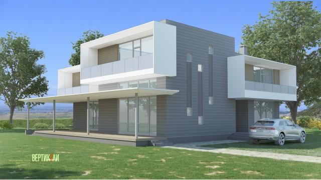 Архитектурен проект на еднофамилна жилищна сграда в с. Дъбник, общ. Поморие - Проектирано от ВЕРТИКАЛИ - Архитектурно и интериорно проектиране