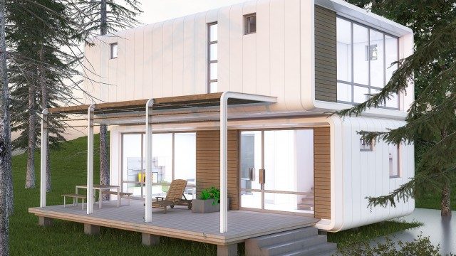 Идеен архитектурен проект на двуетажна еднофамилна жилищна сграда от сглобяеми стоманобетонови елементи - Проектирано от ВЕРТИКАЛИ - Архитектурно и интериорно проектиране