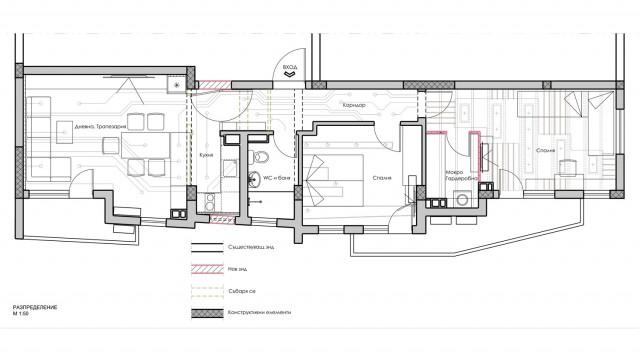 Интериорен проект на тристаен апартамент в гр. Бургас, кв. Сарафово