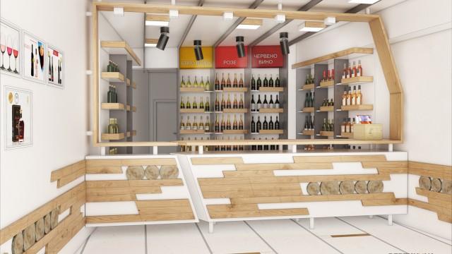 Фирмен магазин за алкохол на Черноморско злато АД, гр. Поморие - Проектирано от ВЕРТИКАЛИ - Архитектурно и интериорно проектиране